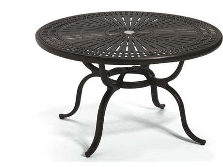 Tropitone Kd Spectrum Cast Aluminum 43 Round Chat Table with Umbrella Hole