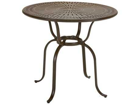Tropitone Kd Spectrum Cast Aluminum 43 Round Bar Table with Umbrella Hole