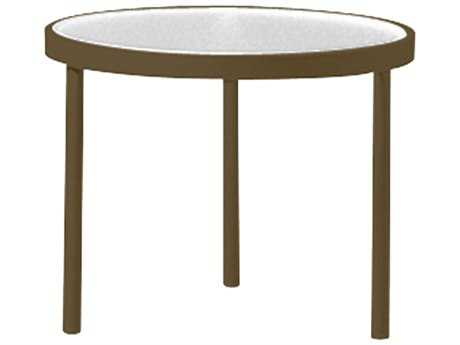 20'' Round Obscure Glass Top End Table