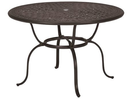 Tropitone Kd Garden Terrace Cast Aluminum 55 Round Dining Table with Umbrella Hole TP820649