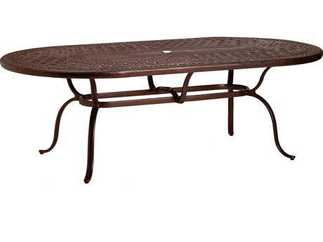 Tropitone Kd Garden Terrace Cast Aluminum 85 x 43 Oval Dining Table with Umbrella Hole
