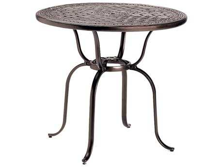Tropitone Kd Garden Terrace Cast Aluminum 43 Round Bar Table with Umbrella Hole