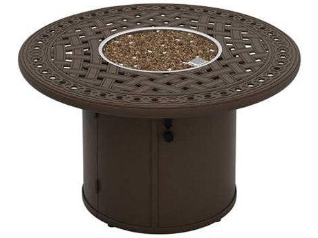 Tropitone Garden Terrace Fire Pits 43'' Round Wide Aluminum Fire Pit Table