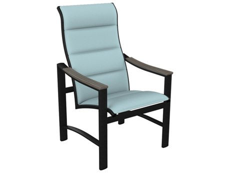 Tropitone Brazo Padded Sling Aluminum High Back Dining Arm Chair