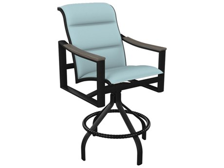 Tropitone Brazo Padded Sling Aluminum Swivel Bar Stool 28''