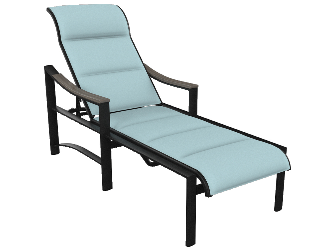 Tropitone brazo padded sling aluminum chaise lounge with for Aluminum chaise lounges