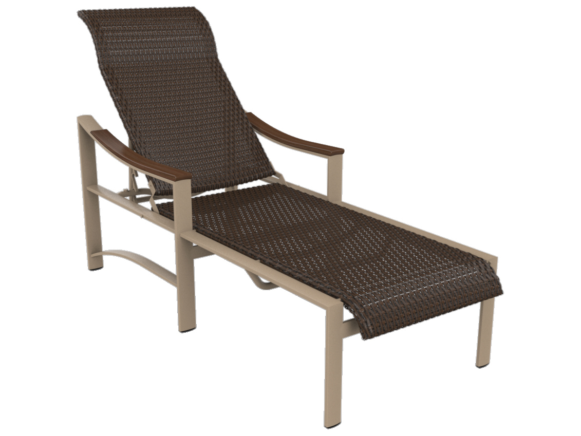 Tropitone brazo woven aluminum chaise lounge with arms for Chaise lounge construction