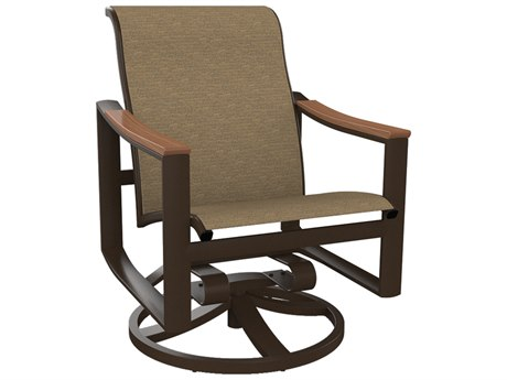 Tropitone Brazo Sling Aluminum Swivel Rocker Dining Arm Chair