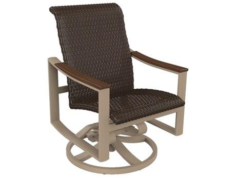 Tropitone Brazo Woven Aluminum Swivel Rocker Dining Arm Chair
