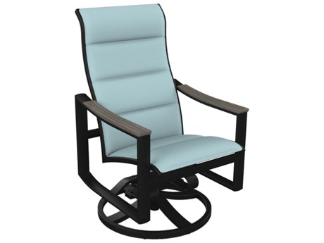 Tropitone Brazo Padded Sling Aluminum High Back Swivel Rocker Dining Arm Chair