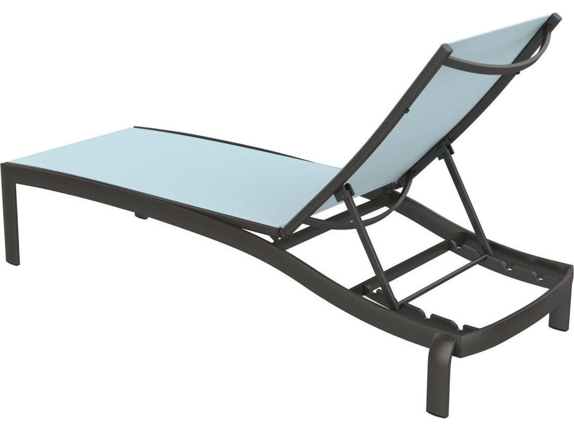 Tropitone kor relaxed sling aluminum chaise lounge armless for Chaise lounge aluminum