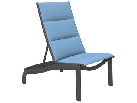 Tropitone Kor Padded Sling Aluminum Armless Recliner Lounge Chair