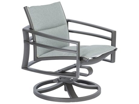Tropitone Kor Padded Sling Aluminum Swivel Rocker Dining Arm Chair