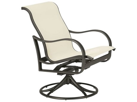 Tropitone Shoreline Sling Aluminum Swivel Rocker Dining Arm Chair