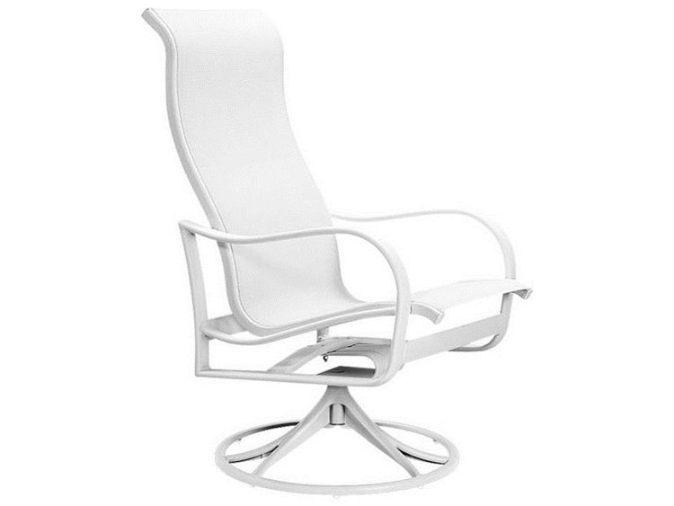 Tropitone Shoreline Sling Aluminum High Back Swivel Rocker Dining Arm Chair PatioLiving
