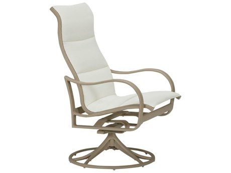 Tropitone Shoreline Padded Sling Aluminum High Back Swivel Rocker Dining Arm Chair