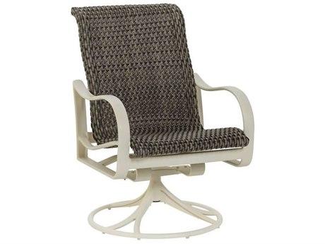 Tropitone Shoreline Woven Aluminum Swivel Rocker Dining Arm Chair