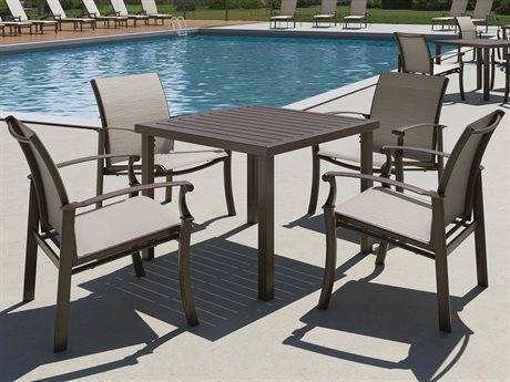 Tropitone Cantos Relaxed Sling Aluminum Dining Set