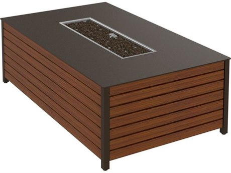 Tropitone Camino Aluminum 50''W x 30''D Rectangular Fire Pit Table with Built-In Ignitor