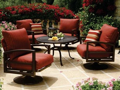 Tropitone Lakeside Cushion Aluminum Swivel Lounge Set