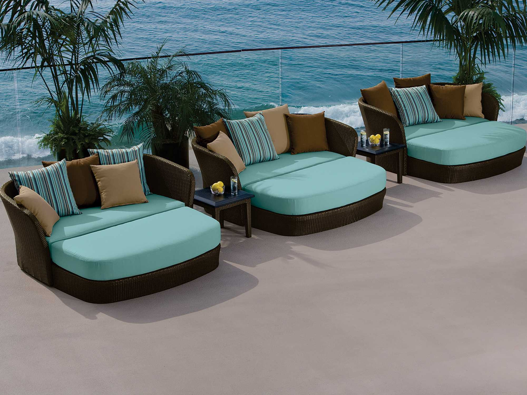 Tropitone mia wicker lounge set mials for Pool and patio furniture