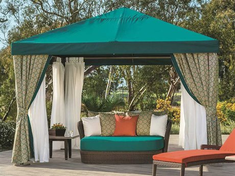 Tropitone Cabana Pavilion Aluminum 8' Square with Vent Fabric Curtains and Sheer Curtain Rods