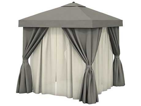 Tropitone Cabana Pavilion Aluminum 10' Square with Vent Fabric Curtains and Sheer Curtain Rods PatioLiving