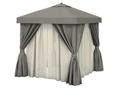 Tropitone Cabana Pavilion 10' Square with Vent, Fabric Curtains and Sheer Curtain Rods