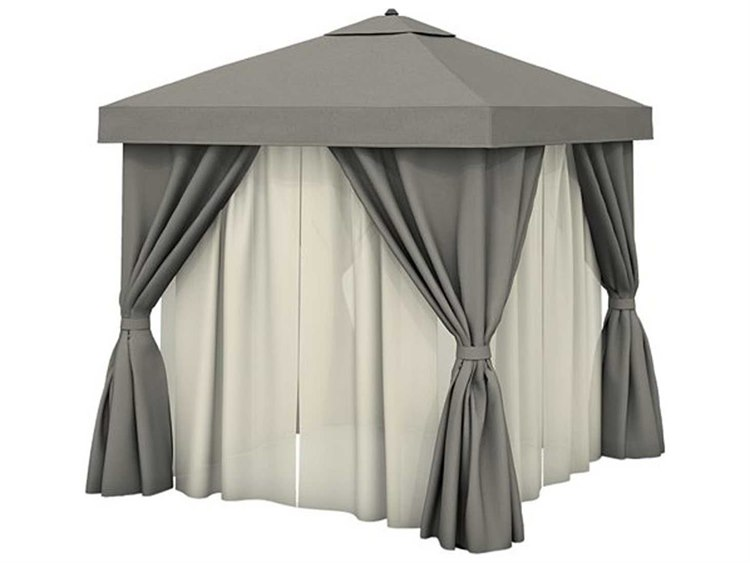 Tropitone Cabana Pavilion 10' Square with Vent Fabric Curtains and Sheer Curtain Rods