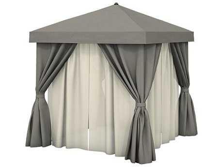 Tropitone Cabana Pavilion Aluminum 12' Square with Fabric Curtains and Sheer Curtain Rods (no vent)