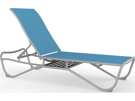 Tropitone Millennia Relaxed Sling Aluminum Stackable Chaise Lounge with Shelf