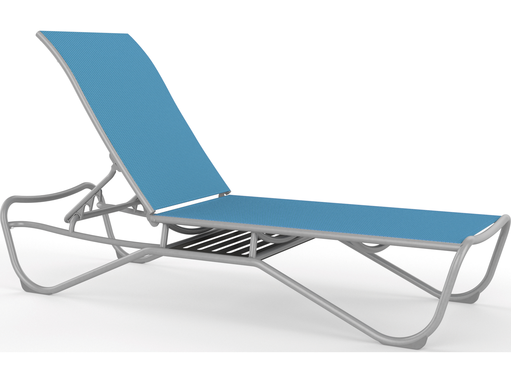 Tropitone millennia relaxed sling aluminum armless chaise for Aluminum sling chaise lounge