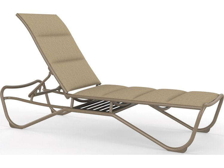 Tropitone Milennia Padded Sling Aluminum Stackable Chaise Lounge with Shelf PatioLiving
