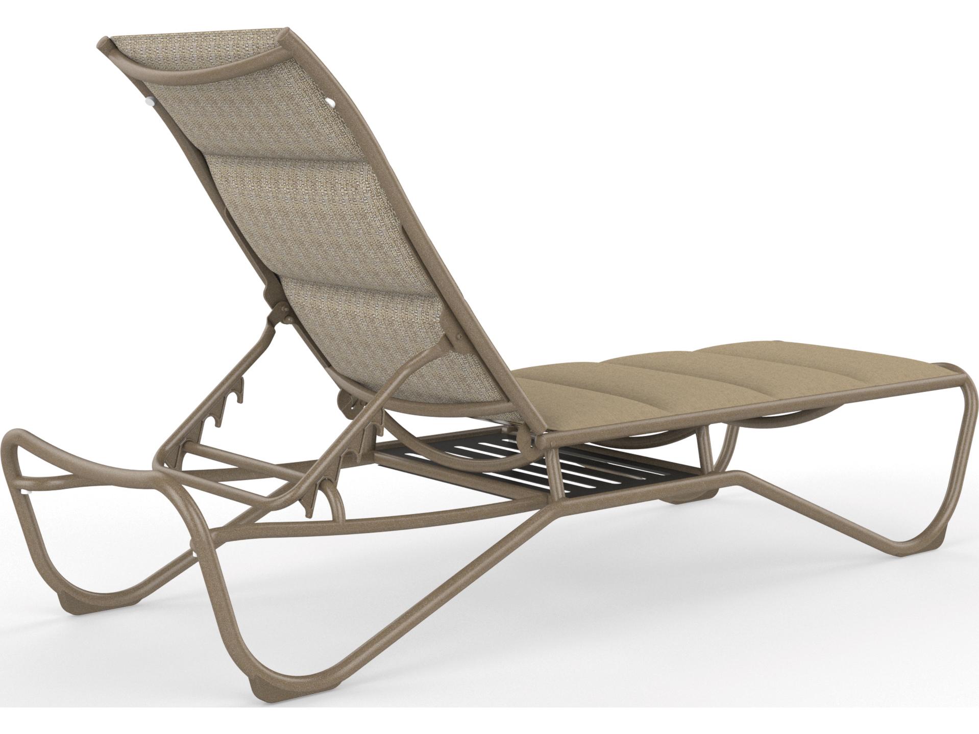 Tropitone milennia padded sling aluminum armless chaise for Armless chaise lounge