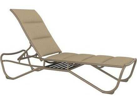 Tropitone milennia padded sling aluminum armless chaise for Armless chaise longue
