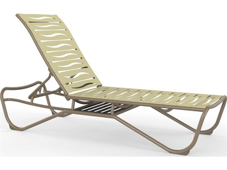 Tropitone Millennia Wave Segment Aluminum Armless Chaise Lounge with Shelf PatioLiving