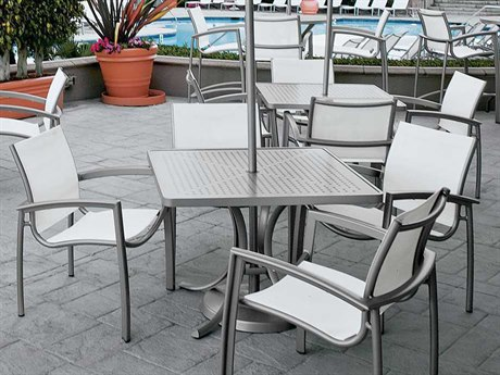 Tropitone Casual South Beach Relaxed Sling Aluminum Dining Set