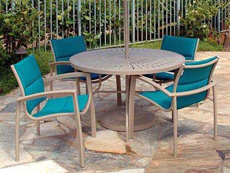 Tropitone South Beach Padded Sling Aluminum Dining Set