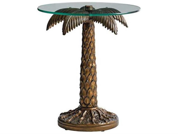 Tommy Bahama Outdoor Alfresco Living 20 Round Palm Tree Table With Tempered Gl Top