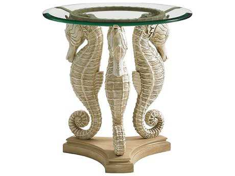 Tommy Bahama Outdoor Alfresco Living 20'' Round Sea Horse Table with Tempered Glass Top