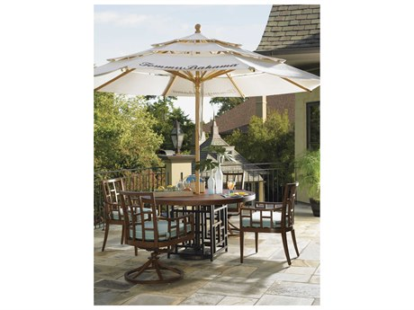 Tommy Bahama Outdoor Alfreso Living Wood 11' Pully Lift Umbrella