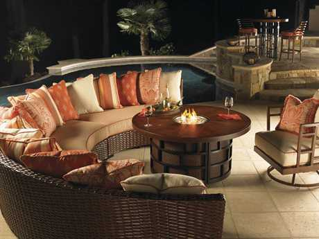 Tommy Bahama Outdoor Ocean Club Pacifica Wicker Fire Pit Lounge Set