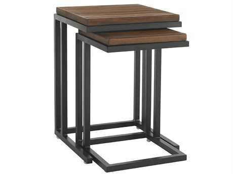 Tommy Bahama Outdoor Ocean Club Pacifica Aluminum 18'' Square Nesting Tables