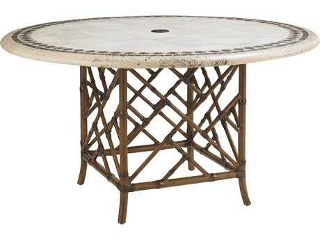 Tommy Bahama Outdoor Island Estate Veranda Aluminum Aluminum 54'' Round Stone Dining Table