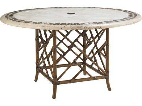 Tommy Bahama Outdoor Island Estate Veranda Aluminum Aluminum 54'' Round Stone Dining Table