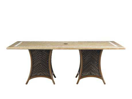 Tommy Bahama Outdoor Island Estate Lanai Wicker 84'' x 44'' Rectangular Weatherstone Dining Table