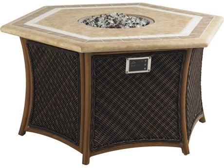 Tommy Bahama Outdoor Island Estate Lanai Wicker 51 x 44 Hexagonal Gas Fire Pit