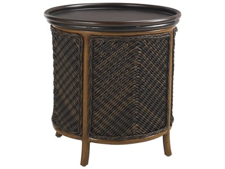 Tommy Bahama Outdoor Island Estate Lanai Wicker 23.25'' Round Tray End Table PatioLiving