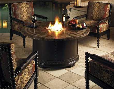Tommy Bahama Outdoor Kingstown Sedona Cast Aluminum Fire Pit Lounge Set
