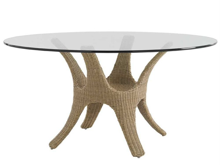 Tommy Bahama Outdoor Aviano Wicker 60 Round Glass Top Dining Table